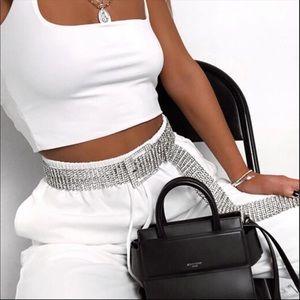 Accessories - Rhinestone fake diamond icy fashion belt